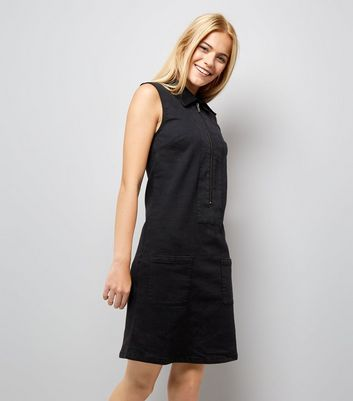 Mela Black Zip Front Denim Dress