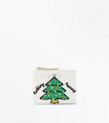 Christmas White Tree Zip Top Mini Purse