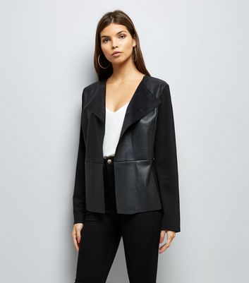 Mela Black Leather-Look Blazer
