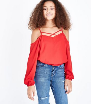 Teens Red Lattice Neck Shirred Hem Top
