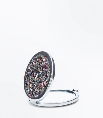 Silver Glitter Embellished Mirror