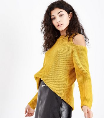 Mustard Yellow Ribbed Cold Shoulder Jumper