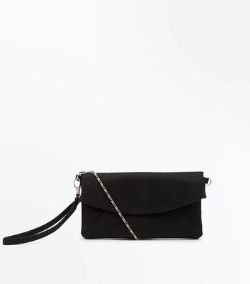 Black Slouchy Envelope Clutch Bag