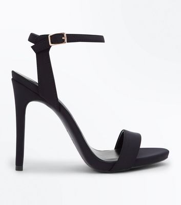 Black Suedette Stiletto Heel Sandals