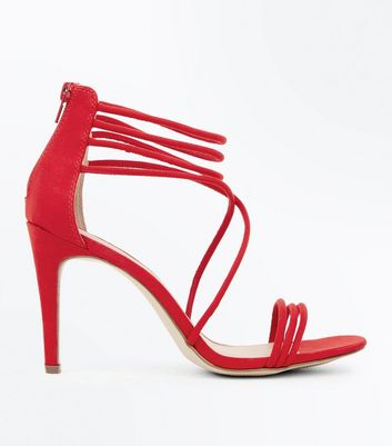 Red Suedette Tube Strap Stiletto Sandals