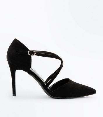 Black Suedette Cross Strap Pointed Courts