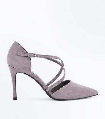 Grey Suedette Cross Strap Pointed Court Shoes