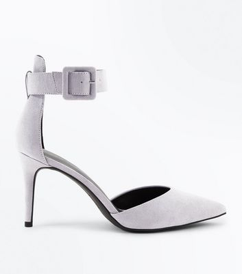Grey Suedette Buckle Ankle Strap Pointed Courts