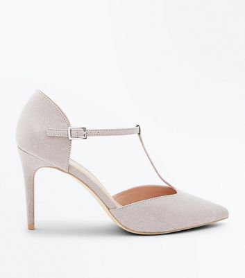Grey Suedette T-Bar Pointed Court Shoes
