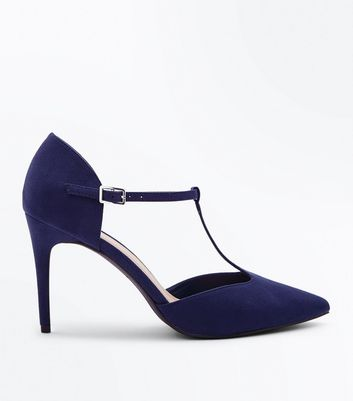 Navy Suedette T-Bar Pointed Court Shoes