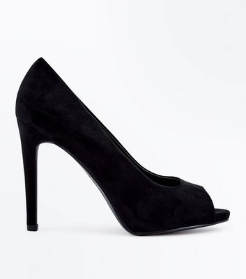 Black Suedette Peep Toe Stiletto Heels