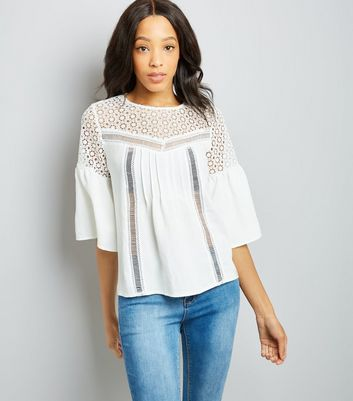 White Crochet Yoke Flutter Sleeve Top