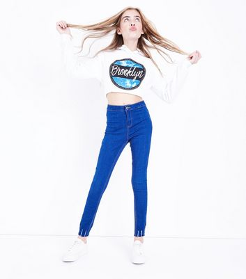 Teens Bright Blue Distressed Hem Jeans