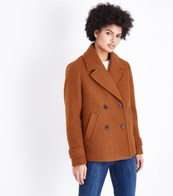 Rust Textured Pea Coat
