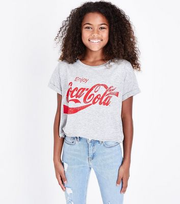 Teens Grey Enjoy Coca Cola Slogan T-Shirt