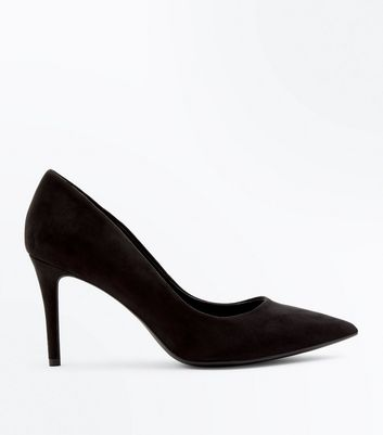 Black Suedette Stiletto Heel Pointed Court Shoes