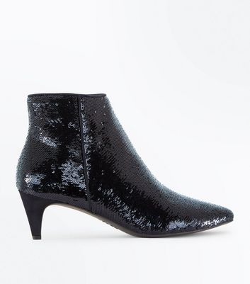 Wide Fit Black Sequin Kitten Heel Ankle Boots