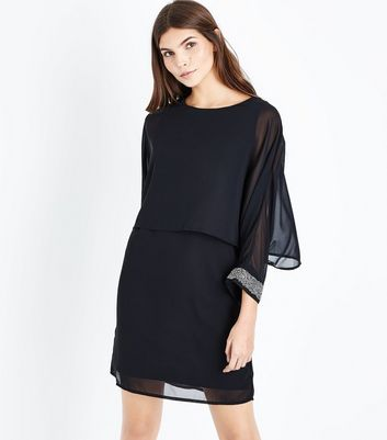 Mela Black Chiffon Embellished Sleeve Shift Dress