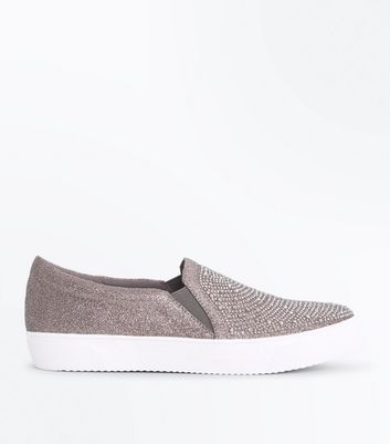 Pewter Embellished Glitter Slip On Trainers