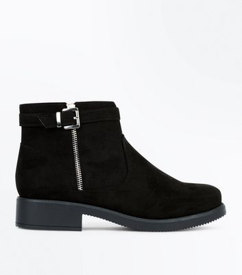 Wide Fit Black Suedette Buckle Ankle Boots