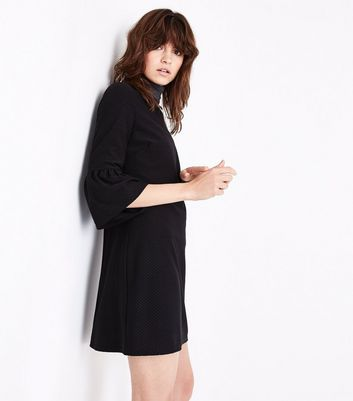 Black Bell Sleeve Jersey Tunic Dress