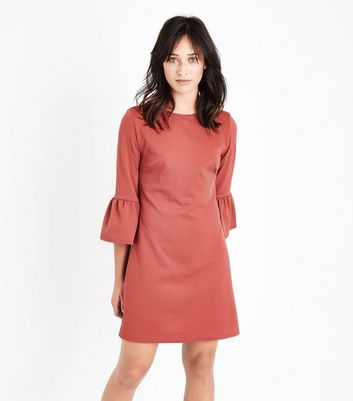 Rust Bell Sleeve Jersey Tunic Dress