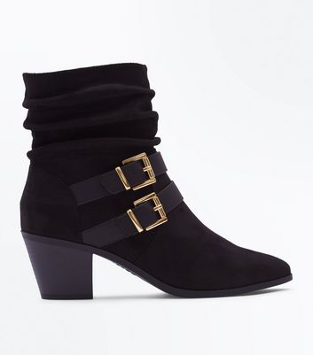 Black Suedette Double Buckle Side Slouch Boots