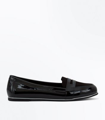 Wide Fit Black Patent Metallic Trim Loafers