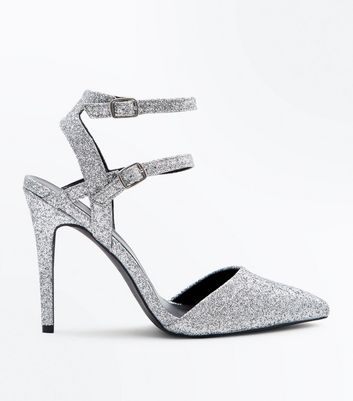 Wide Fit Silver Glitter Double Ankle Strap Pointed Heels