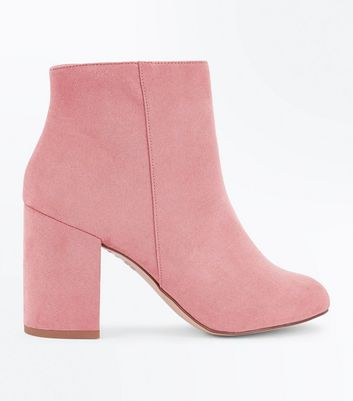 Pink Suedette Block Heel Ankle Boots