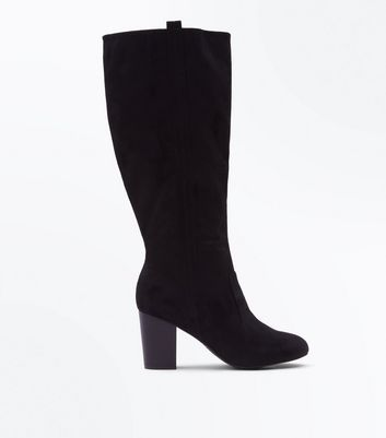 Black Suedette Heeled Western Knee High Boots