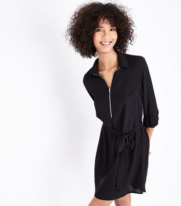 Black Zip Front Belted Shirt Dress