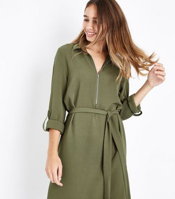 Khaki Zip Front Belted Shirt Dress