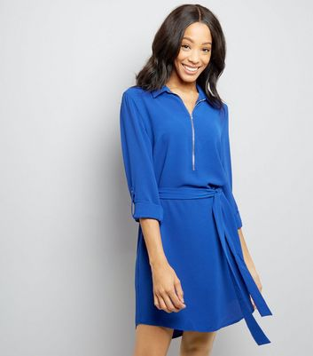 Blue Zip Front Belted Shirt Dress