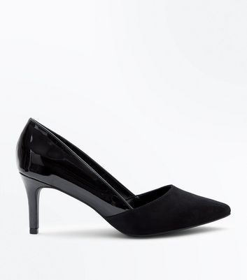 Wide Fit Black Patent Suedette Contrast Pointed Courts