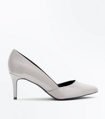 Wide Fit Grey Patent Suedette Contrast Pointed Courts