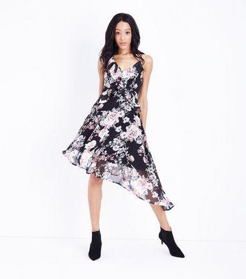 Black Floral Chiffon Frill Trim Asymmetric Dress