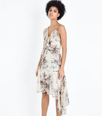 Cream Floral Chiffon Frill Asymetric Dress