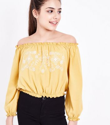 Teens Yellow Cross Stitch Embroidered Bardot Neck Top