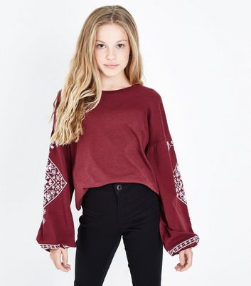 Teens Burgundy Embroidered Detail Long Sleeve Top