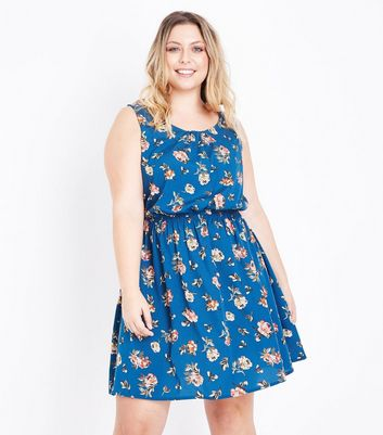Curves Blue Floral Shirred Waist Dress