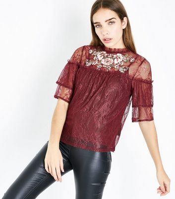 Burgundy Lace Bead and Sequin Embroidered Top