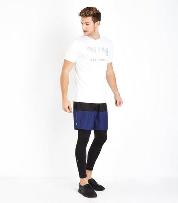 Navy Contrast Running Shorts