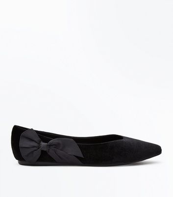Wide Fit Black Velvet Bow Side Pointed Pumps