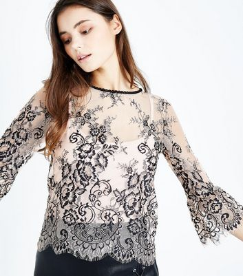 Shell Pink 2 Tone Lace Bell Sleeve Top