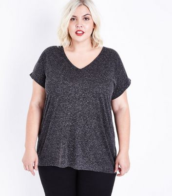Curves Grey Textured Fishtail Oversized T-Shirt