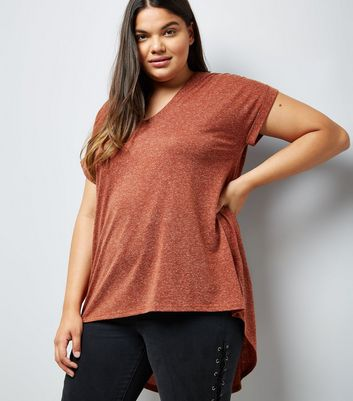 Curves Tan Textured Fishtail Oversized T-Shirt