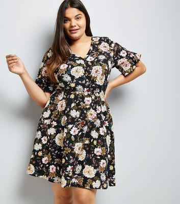 Curves Black Floral Print Fluted Sleeve Dress