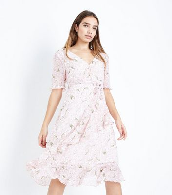 Pink Floral Chiffon Tiered Tea Dress