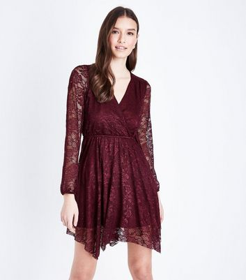 Burgundy Lace Hanky Hem Wrap Dress